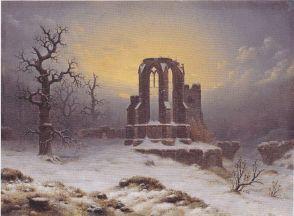 Carl Hasenpflug - Kirchenruine im Schnee - 1853