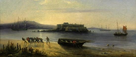 Ferdinand_Victor_Perrot_-_Virage_de_la_longue_barque_sur_la_plage - recoupe